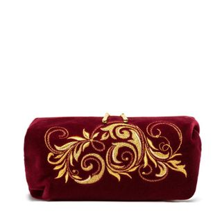 "Velvet cosmetic bag ""falling leaves"" Burgundy with gold embroidery"