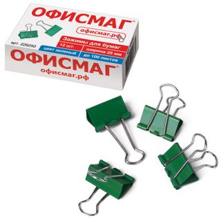 Clips for papers FISMA SET 12 PCs, 25 mm, 100 sheets, GREEN, cardboard box