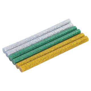 Glue sticks, diameter 7 mm, length 100 mm, colored (assorted), glitter, set of 6, BRAUBERG