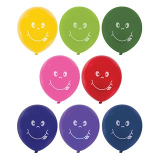 """GOLDEN FAIRY TALE / Balloons 12 """"(30 cm), SET of 50 pieces, assorted 10 colors, with a picture"""" Smile """", package"""