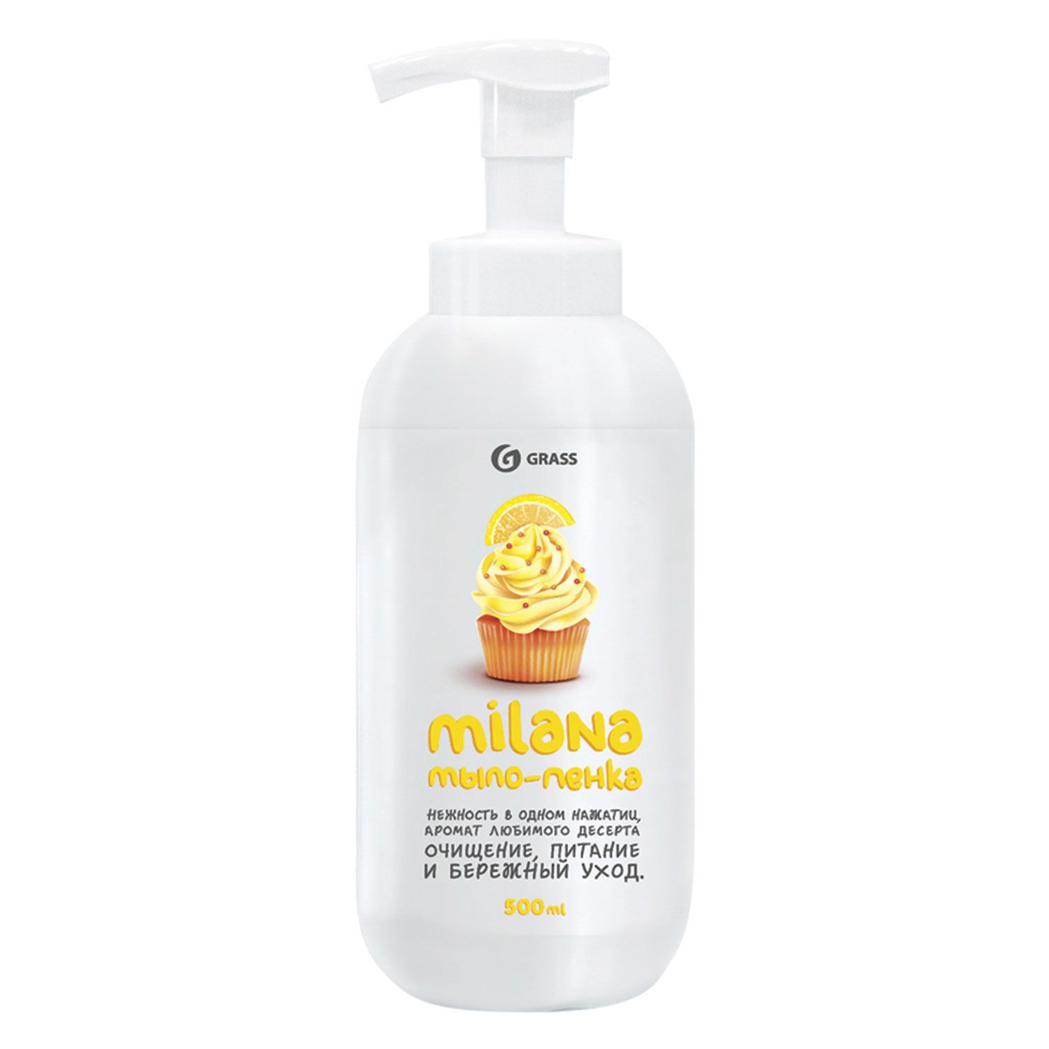 "Soap-foam liquid 500 ml GRASS MILANA ""Lemon pie"", dispenser"