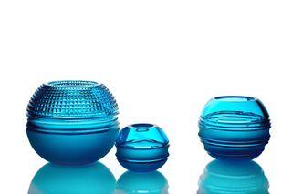 "Crystal vase for flowers ""Pauzhna"" large turquoise"