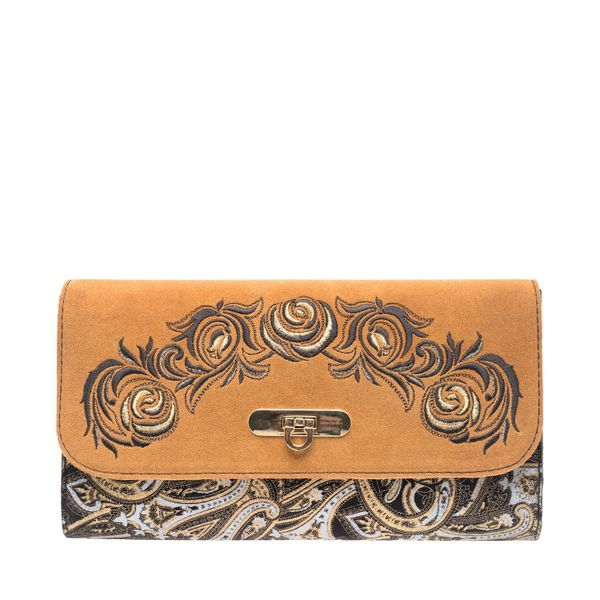 Suede clutch 'Black roses' brown with gold embroidery