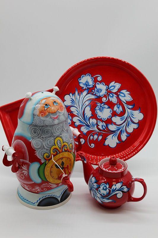 "Dulevo porcelain / Electric samovar 3 l. ""Santa Claus"" in the set"