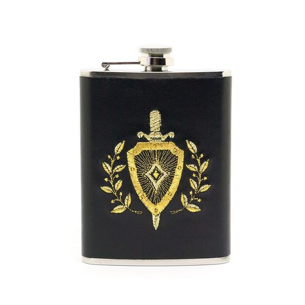 Flask 'Protector' in black with gold embroidery