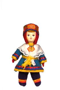 Doll gift porcelain. The girl in the Finnish national dress.