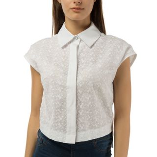 Women's blouse of white silk with embroidery