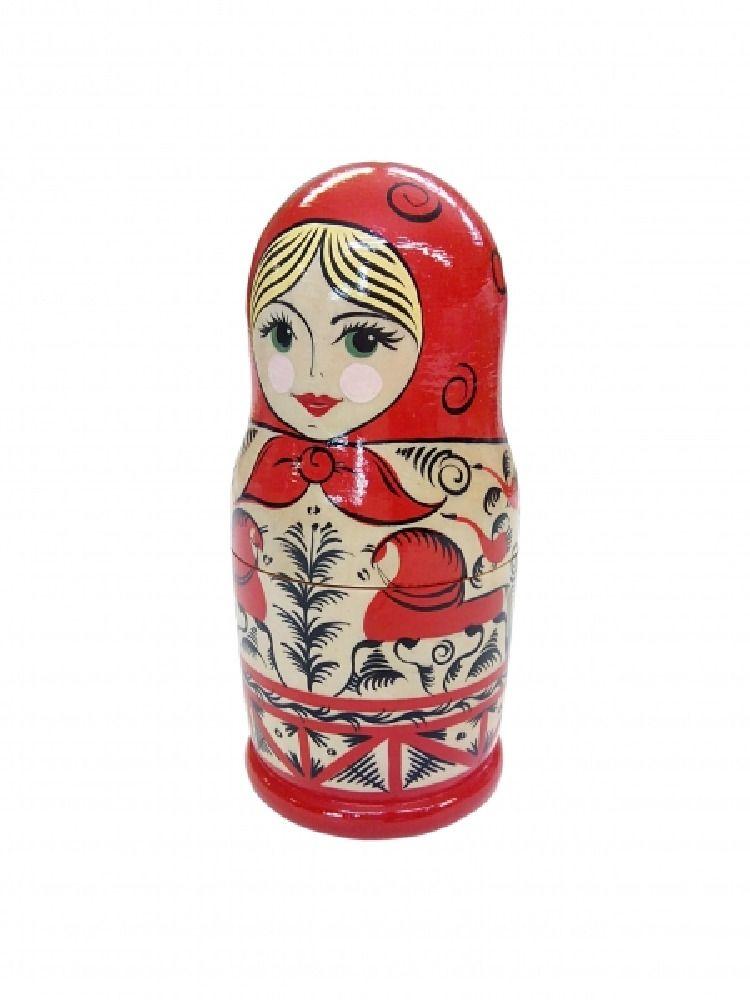 "Matryoshka wooden ""Mezenskaya Rospis"" single"