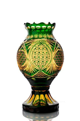 "Crystal decorative vase ""Stone flower"" amber-green"