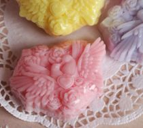Pink doves - handmade olive soap
