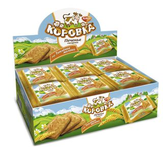 Cow biscuits (malted milk) in individual packaging