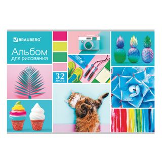 Album for drawing A4, 32 sheets, staples, sequins, BRAUBERG, 202 x285 mm,