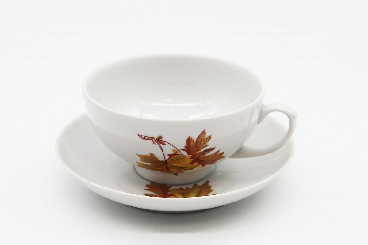 Dulevo porcelain / Tea cup and saucer set, 12 pcs., 220 ml Ruby Maple economy