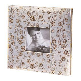 BRAUBERG wedding photo album, 20 magnetic sheets 30х32 cm, textured leather, white gold