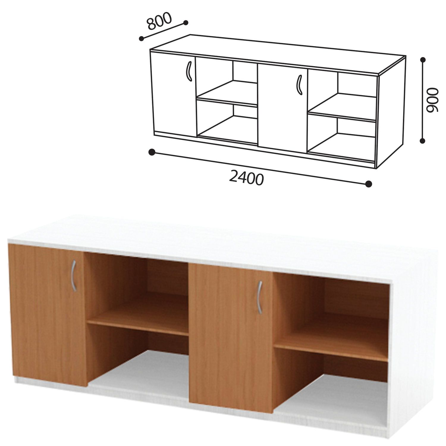 Table (PACKAGE 2) for physics cabinet, 2400 x800 x900 mm, LDSP beech/plastic