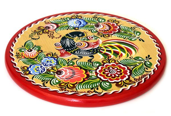 """Gorodets painting / Painted kitchen board """"Bird"""" 250x250x16 mm"""