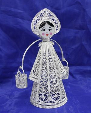 "Kazakovskaya Filigree / Souvenir ""Young lady with a rocker"" silvering"
