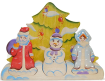 Puzzles 'Christmas trinity' - a colorful educational toy (handmade)