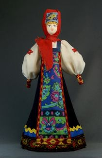 Doll gift porcelain. Tula of lips. Russia. Women's festive costume. Late 19th - early 20th century.
