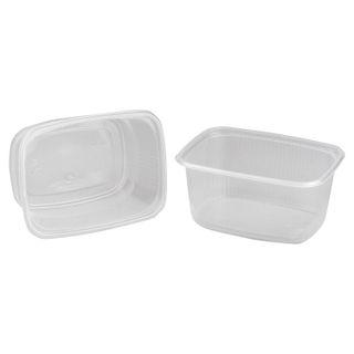 STIROLPLAST / Disposable rectangular containers 250 ml, SET 100 pcs., WITHOUT LID, 108x82x50 mm, PP, transparent