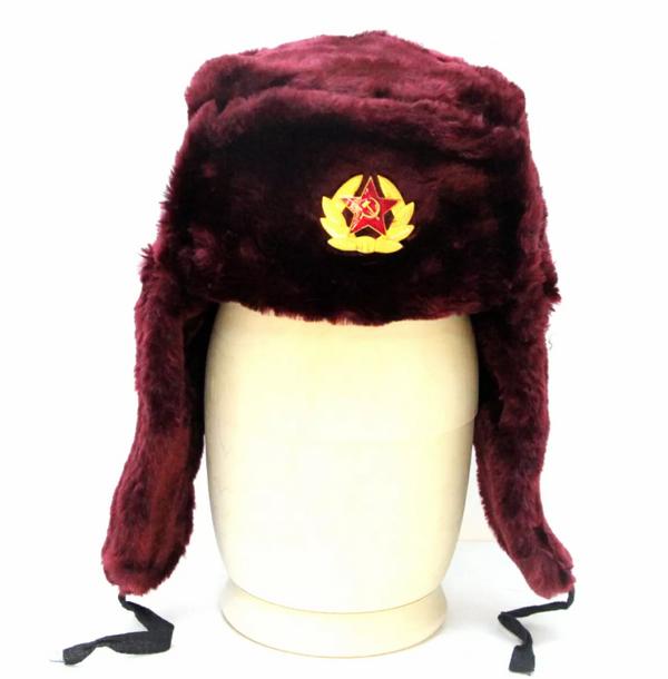Matryoshka Factory / Burgundy Ushanka Hat with Cockade