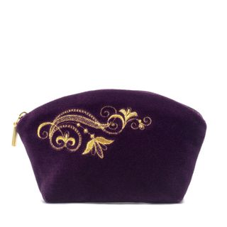 "Velvet cosmetic bag ""Music of wind"" purple with gold embroidery"