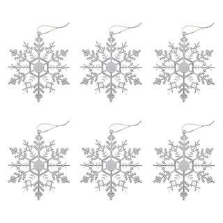 "GOLDEN FAIRY TALE / Christmas tree pendant decoration ""Silver snowflake-cobweb"", a SET of 6 pcs., 12 cm"