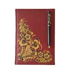 Khokhloma painting / Khokhloma painting / Set of notebook and pen with Khokhloma painting