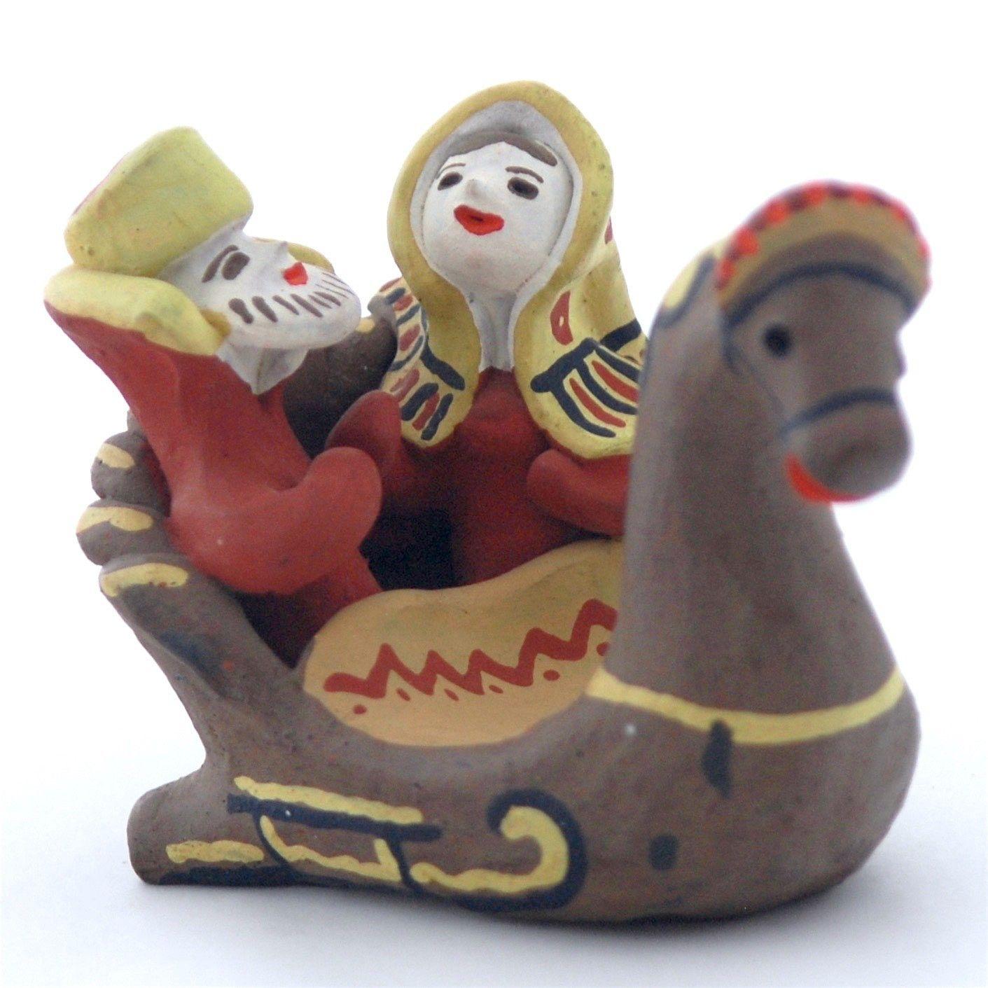 Kargopol clay toys Couple on a sleigh