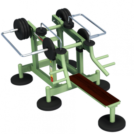 MB Barbell / Outdoor weight training machine for the development of the muscles of the shoulder girdle with variable load from the supine position, var. 2