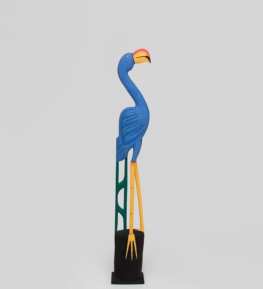 Decor and Gift / Wooden Figurine Blue Flamingo 80 cm