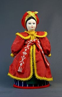 Doll gift porcelain. Ukraine. Women's traditional costume (styling). Late 19th - early 20th century.