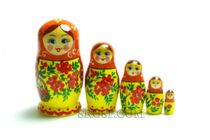 Russian woman - matryoshka booklet, 5 dolls - booklet number 24