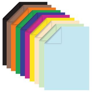 Colored paper A4 TINTED, 100 sheets 10 colors, gluing, 80 g/m2, BRAUBERG, 210x297 mm