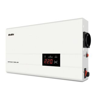 SVEN / AVR SLIM-1000, 1000VA / 800W voltage stabilizer, 1 socket, input voltage 140-260 V