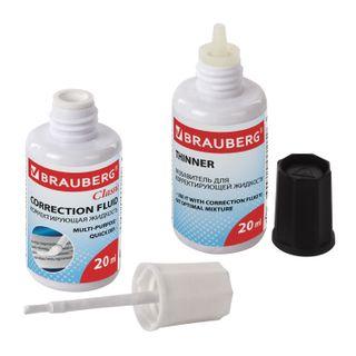 Corrective BRAUBERG set of CORRECTION FLUID + THINNER, 20+20 ml