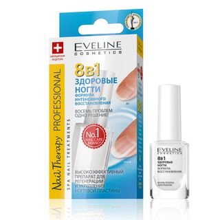 Highly effective agent for the regeneration and strengthening the nail plate - 8in1 healthy nails series, nail therapy professional, Eveline, 12 ml