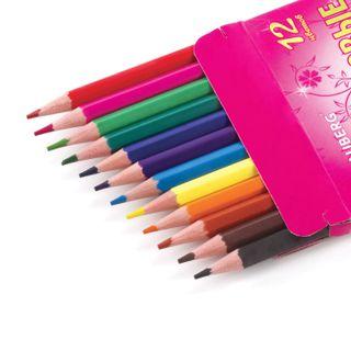"""Crayons BRAUBERG """"Rose Angel"""", 12 colors, plastic, pointy, cardboard packaging"""