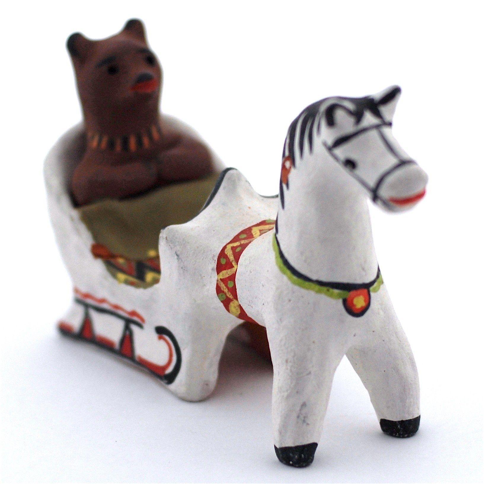 Kargopol clay toy Bear on a sleigh