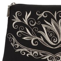 Cosmetic bag 'Bird' black with silver embroidery