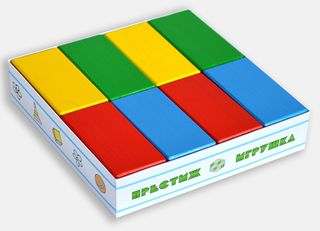 The bricks colored - 16 pieces in a cardboard box for children from 2 years