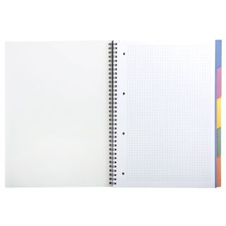 Notebook A4, 100 sheets, HERLITZ comb, cage, cover cardboard, 5 dividers,