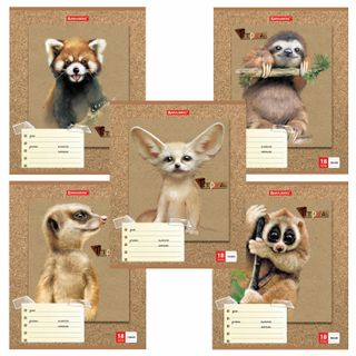 "Notebook 18 sheets BRAUBERG line, cardboard cover, ""CUTE ANIMALS"""