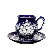 Cup Blue Rhapsody deaf cobalt overglaze colored paint platinum, Gzhel Porcelain factory