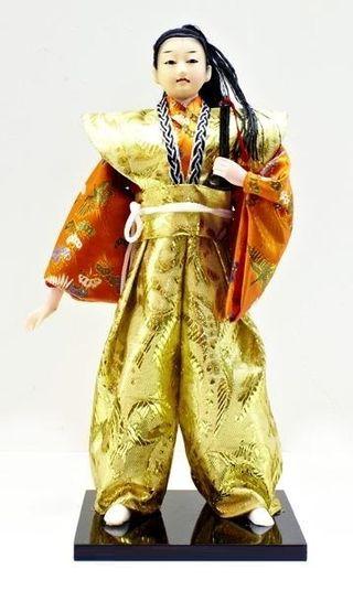 Doll collectible Samurai orange-and-gold kimono