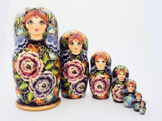 Matryoshka 7 seats Flower with a potaty- Souvenir