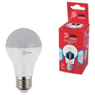 ЭРА / Лампа светодиодная 8 (55) Вт, цоколь E27, грушевидная, холодный белый свет, 25000 ч., LED smdA55\60-8w-840-E27ECO