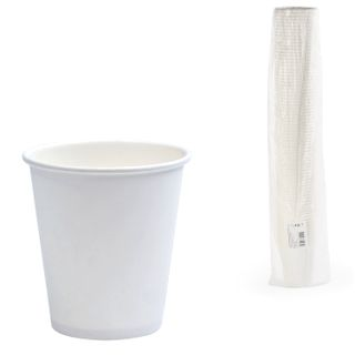 FORMATION / Disposable cups 250 ml, SET 75 pcs., Single-layer paper, white, cold / hot