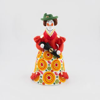Clay figurine Lady elegant urban 9 x 19 x 9, Dymkovo toy