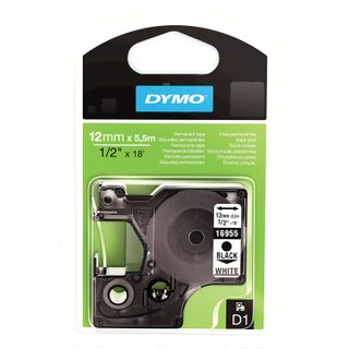 DYMO D1 label printer cartridge, 12 mm x 5.5 m, polyester tape, black font, white background